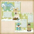 Premade Scrapbooking 2 Page Layouts FROSTY FUN winter snowflakes forest animals