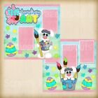 Premade Scrapbooking 2 Page Layouts EGGS TRAORDINARY ART easter bunny painting