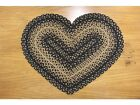 Country new black/tan rustic braided Heart rug  / 20