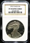 1993 PF70 PROOF AMERICAN SILVER EAGLE NGC 70 PERFECT VINTAGE SLAB