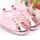 Spring 0 12M Baby Infant Girl Soft Sole Crib Shoes Sneakers Lace Bow Prewalker