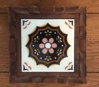 Vinage Dal-Tile Mexico Hand Carved Footed Trivet Brown Daisy Pattern Wood  A+