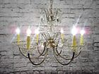 Vintage Antique Chandelier Brass Crystal. Bobeches Original Restored French