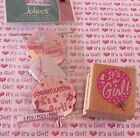 Wood Rubber Stamp Its A Girl+Jolees Mylar Balloons Stickers Baby Announcement