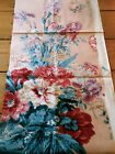 Antique Vintage English Iris Floral Cotton Chintz Fabric ~ Lavender Blue Red