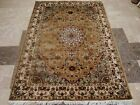 EXOTIC GOLD IVORY FLORAL MEDALLION HAND KNOTTED RUG WOOL SILK CARPET 6X4 FB-2298