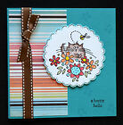 Stampendous Fluffles kitty cat bee handmade HAPPY HELLO card uses Stampin Up