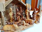 Large complete Set Olivewood Nativity hand carved includes creche
