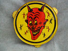 VINTAGE 1950s KIRCHHOF TIN TOY HALLOWEEN DEVIL SATAN TAMBOURINE US MADE