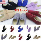 USA Womens Ladies Casual Low Flat Heels Pumps Lace Up Oxford Loafers Shoes Size