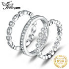 JewelryPalace 21ct Cubic Zirconia 3 Stackable Wedding Band Rings 925 Silver