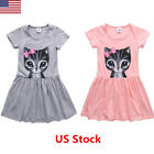 Fashion Kids Baby Girls Clothes Casual Cat Print Short Sleeve Mini Dress 2 8Y US