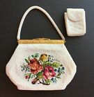 Floral Needlepoint Handbag Purse w/ Beaded Handle