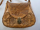 Vintage Mexico Hand Tooled Leather Eagle Roses Southwestern Handbag Bag Purse
