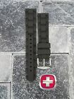 New Victorinox Swiss Army Rubber Strap Black Diver Watch Band 20mm 19mm X1