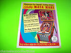 MATA HARI By BALLY 1978 ORIGINAL PINBALL MACHINE SALES FLYER BROCHURE