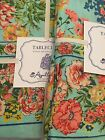 APRIL CORNELL TABLECLOTH Rectangle 60x104in Blue coraL Floral Summer Tablecloth