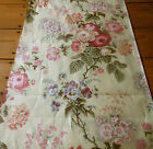Antique Botanical Floral Chintz Fabric  #2 ~ Sage Lavender Pink Red Butter Cream