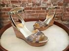 Marc Fisher Welly Leopard Cross Strap Platform Wedge Sandal 85 NEW
