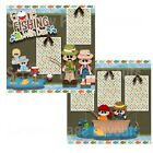 Printed Premade Scrapbooking 2 Page Layouts GONE FISHING WITH DAD fish outdoors
