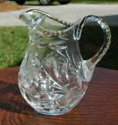 Mid Century Clear Cut Glass Pitcher with a Beautiful Floral Pattern