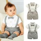 Baby Boy Wedding Formal Suit Bowtie Gentleman Romper Tuxedo Newborn Outfit 0 24M