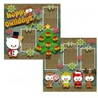 Printed Premade Scrapbooking 2 Page Layouts HAPPY OWLIDAYS owls holidays xmas