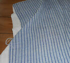 Antique Rustic French Loom Linen Homespun Pillow Cover ~ Blue Check Plaid Fabric
