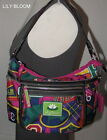 LILY BLOOM Multi Color Cheer Shoulder ZipTop Handbag ID Compartment Recycled EUC