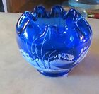 FENTON GLASS...COBALT ROSE BOWL...New Condition!