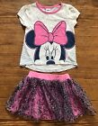GUC Toddler Girl Disney Minnie Mouse 2 Pic Outfit Shirt Tutu Skirt Sz 4t