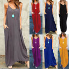 ZANZEA Boho Summer Evening Party Sundress Oversized Strappy Long Maxi Dress Plus