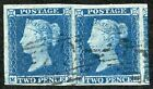 1841 2d Blue MF MG Plate 4 SUPERB Four Margin Pair on Thin Paper Ex Chartwell