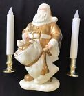 LARGE GOLD WHITE SANTA 11 INCH HRISTMAS DECORATION 2 CANDLES TOY SACK NICE @@