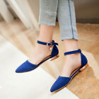 Cute 4 Colors Mary Janes Ballet Flat Womens Ankle Strap Pointed Toe Retro Shoes