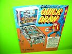 Gottlieb QUICK DRAW Original 1975 Flipper Game Pinball Machine Promo Sales Flyer