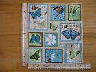 Butterfly Postage Stamps Flowers Cotton Quilt Fabric Panel Blocks