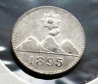 Guatemala 1/4 Real, 1895. aUNC silver. Luster. Volcanoes