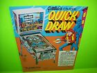 Gottlieb QUICK DRAW Original 1975 Flipper Game Pinball Machine Promo Flyer