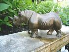 VINTAGE SOLID BRASS 9 LONG RHINOCEROS FIGURE OLD PATINA FREE SHIPPING