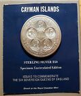 CAYMAN ISLANDS 1975 SIX QUEENS SILVER $50 SPECIMEN COIN ON CARD - ROYAL MINT
