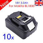 10 X 3.0Ah 18V Li-ion Battery BL1830 For Makita BCL180 BDF454F BML185 BTD140Z UK