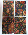 Fabric Remnants Samples Lot of 4 12x16 Raymond Waites Floral Dark Background