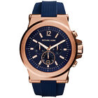 Michael Kors Mens Dylan Navy Silicone Strap Rose Gold Tone Watch