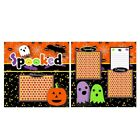 Printed Premade Scrapbooking 2 Page Layouts SPOOKED halloween ghosts bats