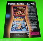 FREE FALL By STERN 1979 ORIGINAL NOS PINBALL MACHINE PROMO SALES FLYER FREEFALL