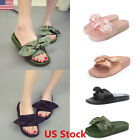 Womens Bow Sliders Slippers Flip Flop Sandals Slip On Mules Comfy Flats Shoes US