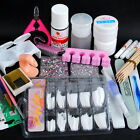 Clear Acrylic Powder UV Gel Nail Brush False Finger Pump Nail Art Tools Kit Set
