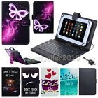 """2017 For RCA 7""""-10.1"""" Android Tablet Print Leather Micro USB Keyboard Case Cover"""