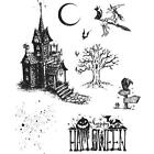 New HOLTZ Stampers Anonymous rubber stamp Cling HAUNTED HOUSE HALLOWEEN